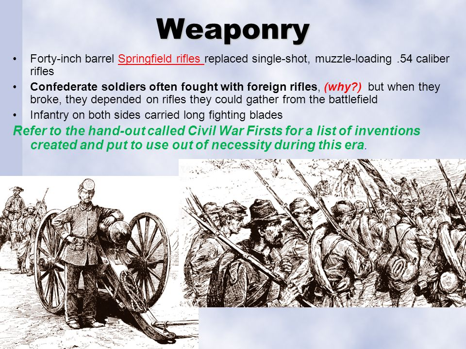 Weaponry Forty-inch barrel Springfield rifles replaced single-shot, muzzle-loading.54 caliber riflesSpringfield rifles Confederate soldiers often foug