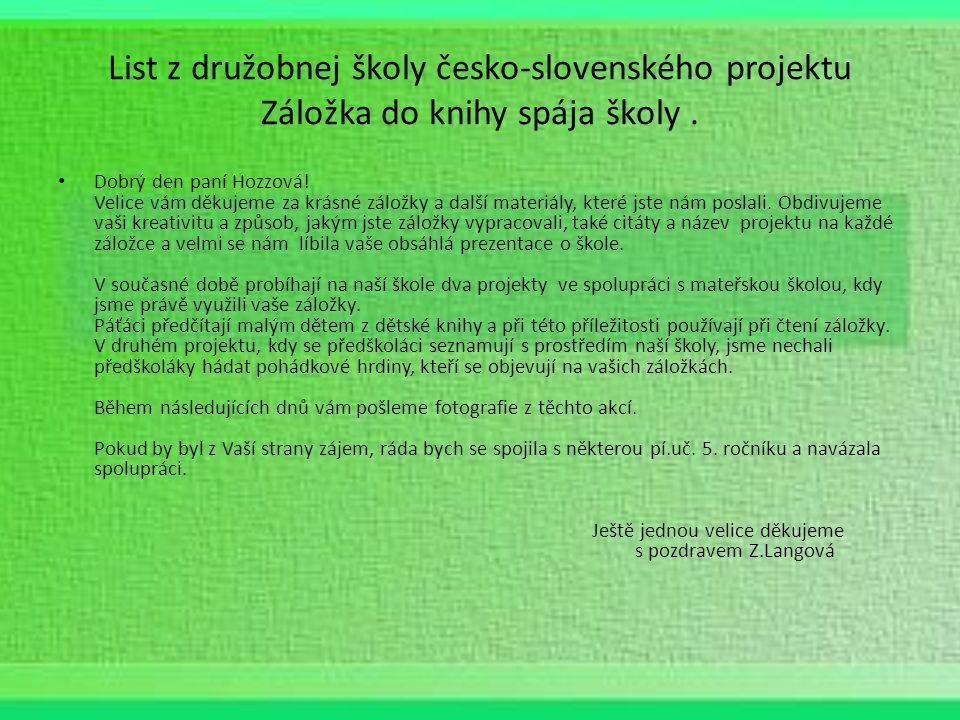 List z družobnej školy česko-slovenského projektu Záložka do knihy spája školy.