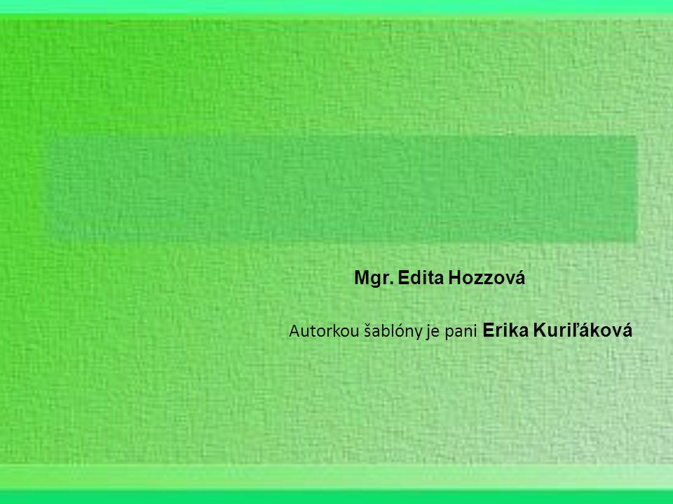 Mgr. Edita Hozzová Autorkou šablóny je pani Erika Kuriľáková