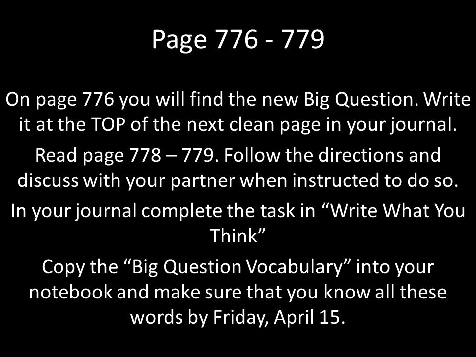 Page 776 - 779 On page 776 you will find the new Big Question.