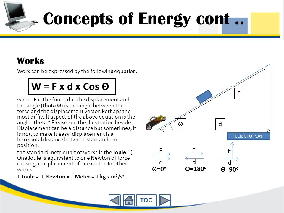 Concepts of Energy cont..Works Work can be expressed by the following equation.