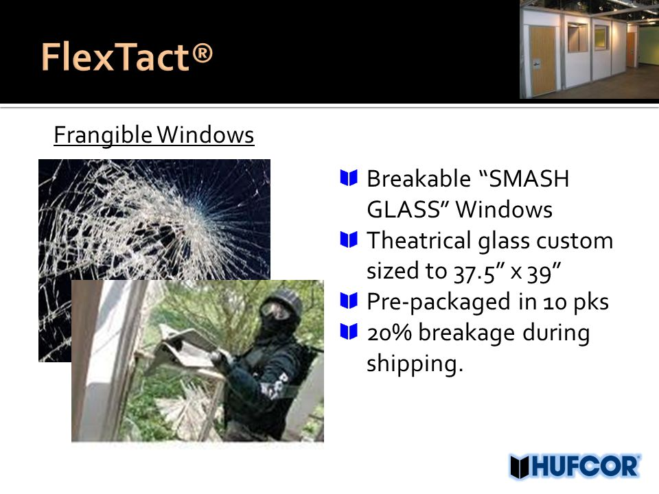 Frangible Windows Breakable SMASH GLASS Windows Theatrical glass custom sized to 37.5 x 39 Pre-packaged in 10 pks 20% breakage during shipping.