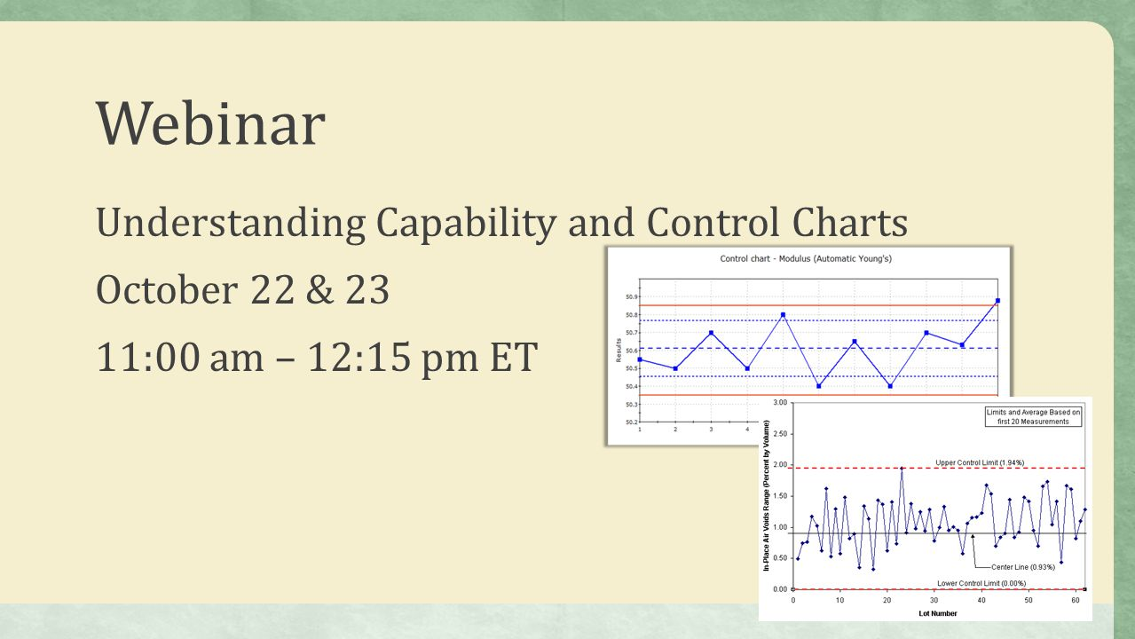 Webinar Understanding Capability and Control Charts October 22 & 23 11:00 am – 12:15 pm ET