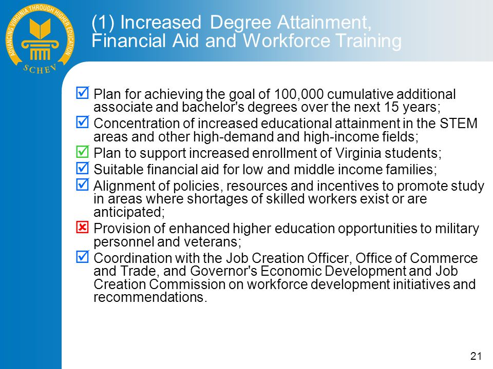 21  Plan for achieving the goal of 100,000 cumulative additional associate and bachelor s degrees over the next 15 years;  Concentration of increased educational attainment in the STEM areas and other high-demand and high-income fields;  Plan to support increased enrollment of Virginia students;  Suitable financial aid for low and middle income families;  Alignment of policies, resources and incentives to promote study in areas where shortages of skilled workers exist or are anticipated;  Provision of enhanced higher education opportunities to military personnel and veterans;  Coordination with the Job Creation Officer, Office of Commerce and Trade, and Governor s Economic Development and Job Creation Commission on workforce development initiatives and recommendations.
