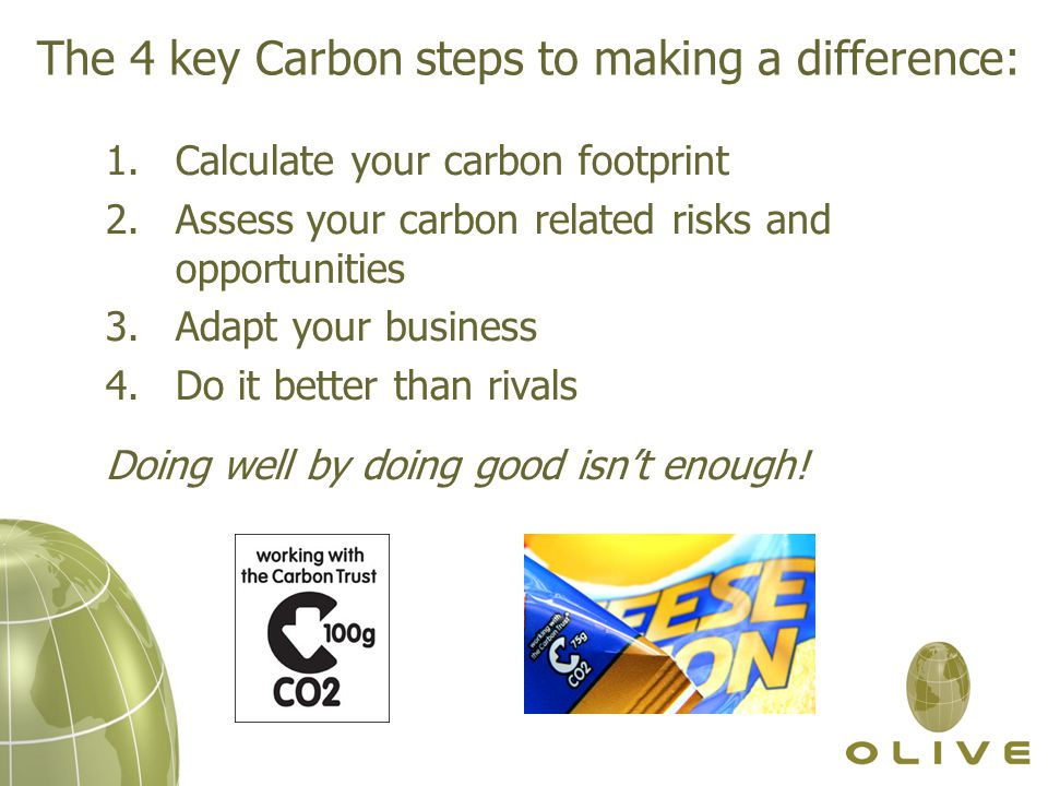 The 4 key Carbon steps to making a difference: 1.Calculate your carbon footprint 2.Assess your carbon related risks and opportunities 3.Adapt your business 4.Do it better than rivals Doing well by doing good isn't enough!