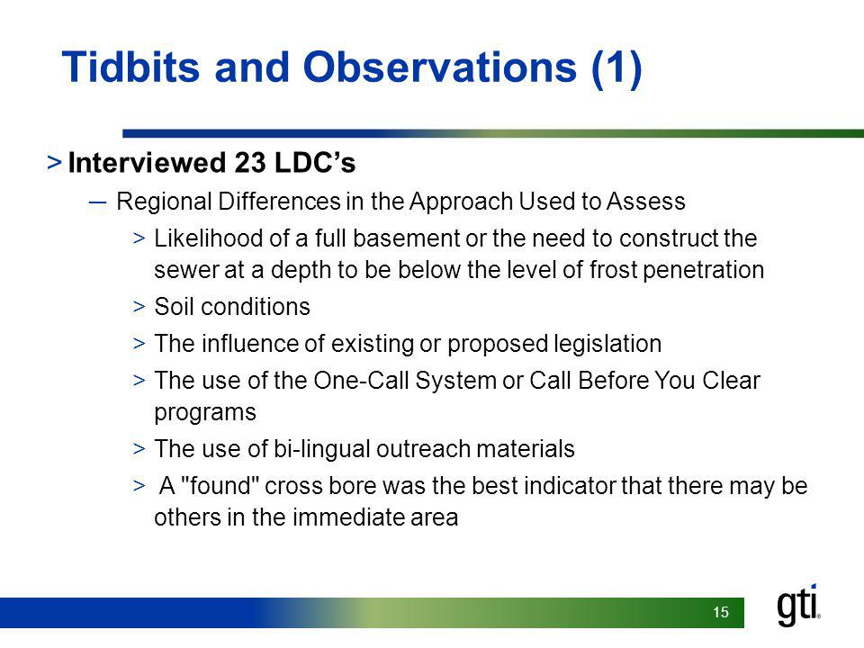15 Tidbits and Observations (1) >Interviewed 23 LDC's ─Regional Differences in the Approach Used to Assess >Likelihood of a full basement or the need