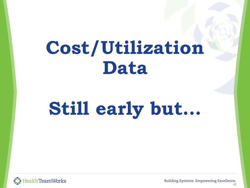 Cost/Utilization Data Still early but... 48