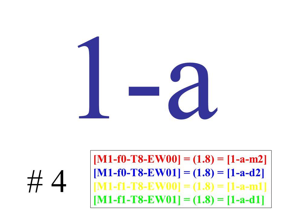 1-a # 4 [M1-f0-T8-EW00] = (1.8) = [1-a-m2] [M1-f0-T8-EW01] = (1.8) = [1-a-d2] [M1-f1-T8-EW00] = (1.8) = [1-a-m1] [M1-f1-T8-EW01] = (1.8) = [1-a-d1]