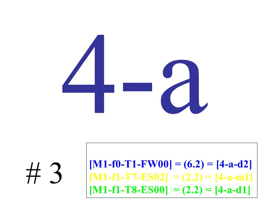 4-a # 3 [M1-f0-T1-FW00] = (6.2) = [4-a-d2] [M1-f1-T7-ES02] = (2.2) = [4-a-m1] [M1-f1-T8-ES00] = (2.2) = [4-a-d1]