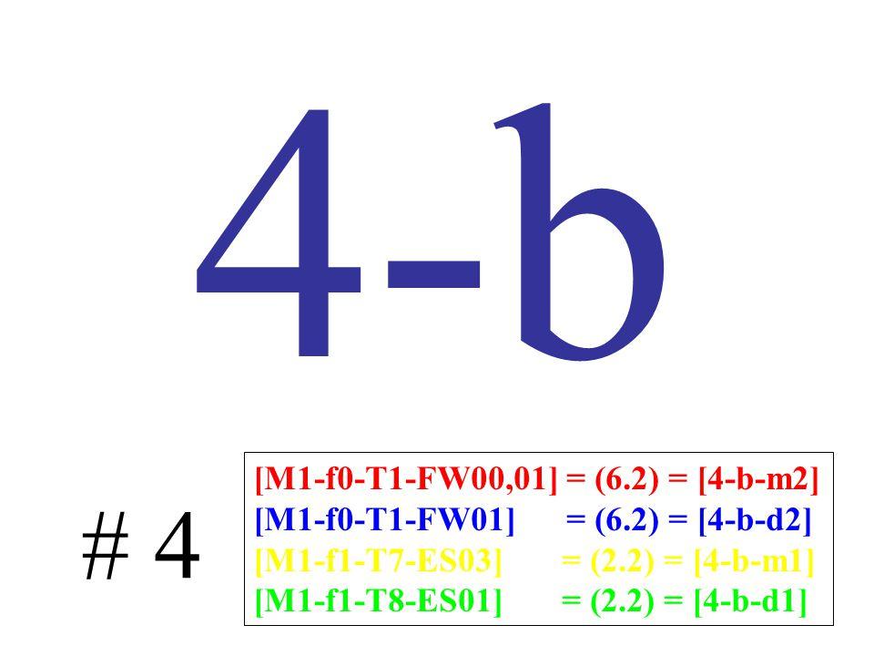 4-b # 4 [M1-f0-T1-FW00,01] = (6.2) = [4-b-m2] [M1-f0-T1-FW01] = (6.2) = [4-b-d2] [M1-f1-T7-ES03] = (2.2) = [4-b-m1] [M1-f1-T8-ES01] = (2.2) = [4-b-d1]