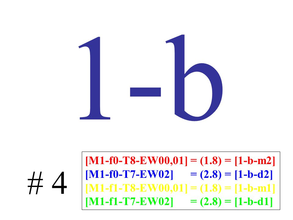 1-b # 4 [M1-f0-T8-EW00,01] = (1.8) = [1-b-m2] [M1-f0-T7-EW02] = (2.8) = [1-b-d2] [M1-f1-T8-EW00,01] = (1.8) = [1-b-m1] [M1-f1-T7-EW02] = (2.8) = [1-b-d1]