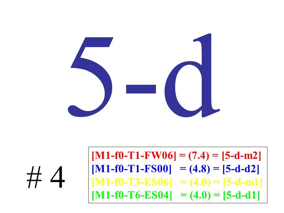 5-d # 4 [M1-f0-T1-FW06] = (7.4) = [5-d-m2] [M1-f0-T1-FS00] = (4.8) = [5-d-d2] [M1-f0-T3-ES06] = (4.0) = [5-d-m1] [M1-f0-T6-ES04] = (4.0) = [5-d-d1]