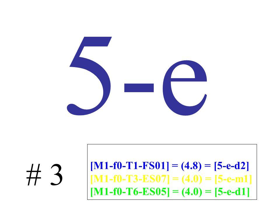 5-e # 3 [M1-f0-T1-FS01] = (4.8) = [5-e-d2] [M1-f0-T3-ES07] = (4.0) = [5-e-m1] [M1-f0-T6-ES05] = (4.0) = [5-e-d1]