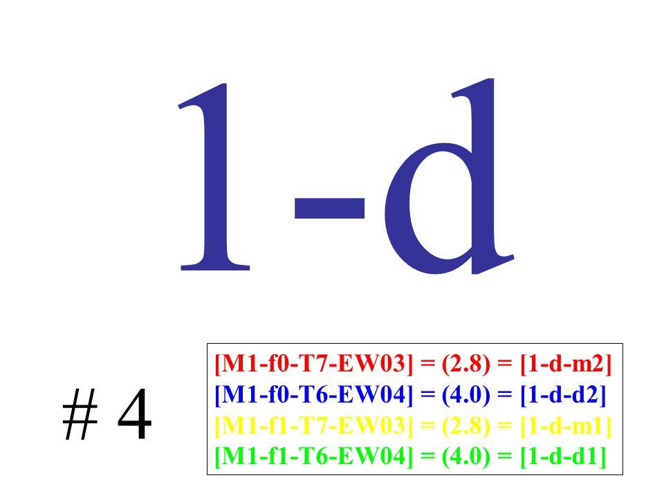 1-d # 4 [M1-f0-T7-EW03] = (2.8) = [1-d-m2] [M1-f0-T6-EW04] = (4.0) = [1-d-d2] [M1-f1-T7-EW03] = (2.8) = [1-d-m1] [M1-f1-T6-EW04] = (4.0) = [1-d-d1]