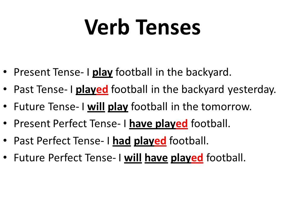 Verb Tenses Present Tense- I play football in the backyard.
