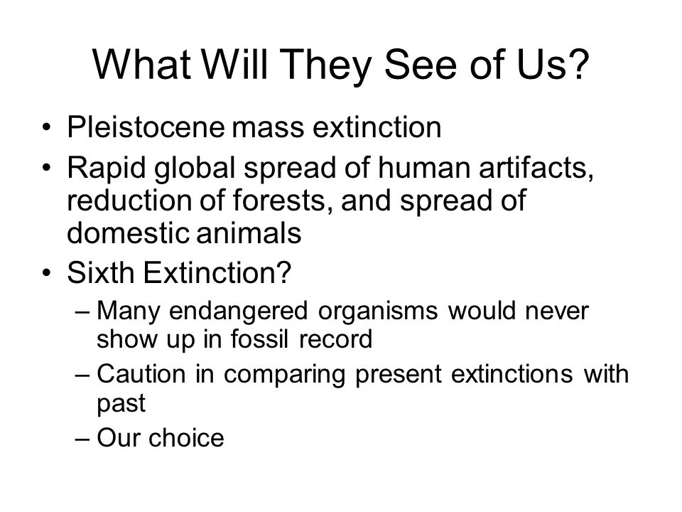 What Will They See of Us? Pleistocene mass extinction Rapid global spread of human artifacts, reduction of forests, and spread of domestic animals Six