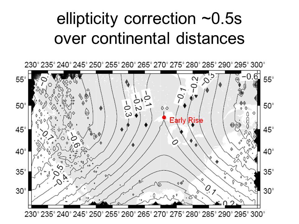 ellipticity correction ~0.5s over continental distances