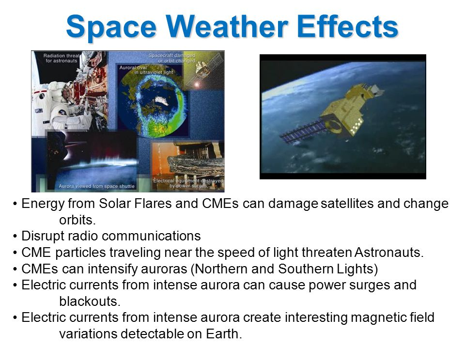 Energy from Solar Flares and CMEs can damage satellites and change orbits.
