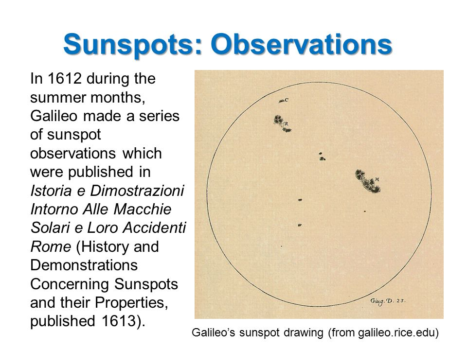 Sunspots: Observations Because these observations were made at approximately the same time of day, the motion of the spots across the Sun can easily be seen.