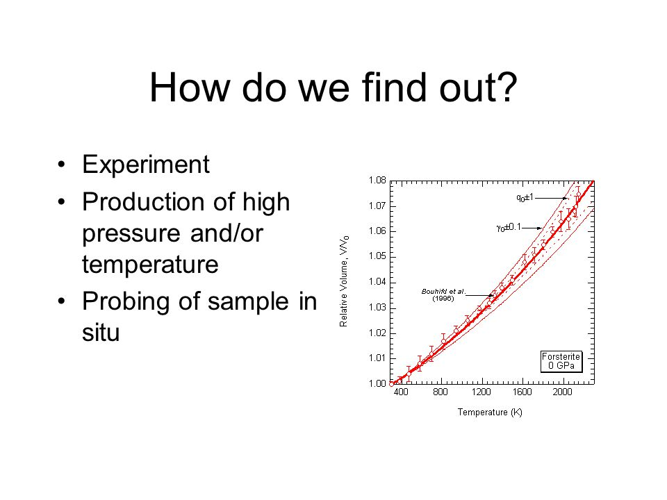 How do we find out? Experiment Production of high pressure and/or temperature Probing of sample in situ