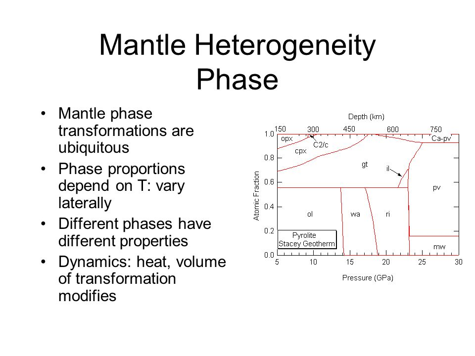 Mantle Heterogeneity Phase Mantle phase transformations are ubiquitous Phase proportions depend on T: vary laterally Different phases have different properties Dynamics: heat, volume of transformation modifies