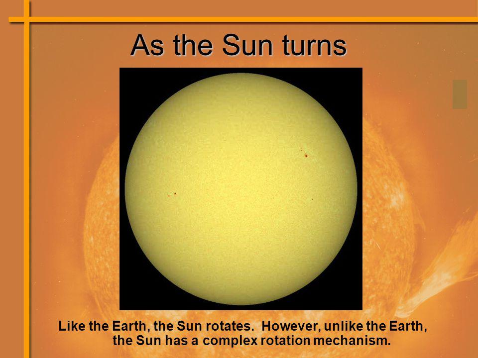 As the Sun turns Like the Earth, the Sun rotates.