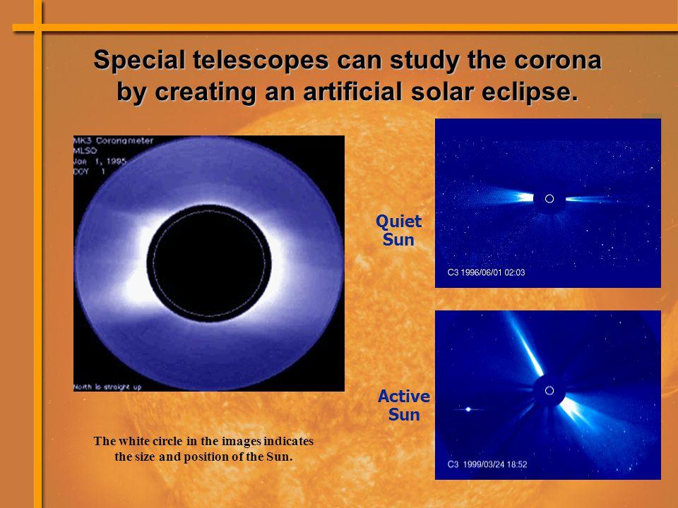 Quiet Sun Active Sun Special telescopes can study the corona by creating an artificial solar eclipse.