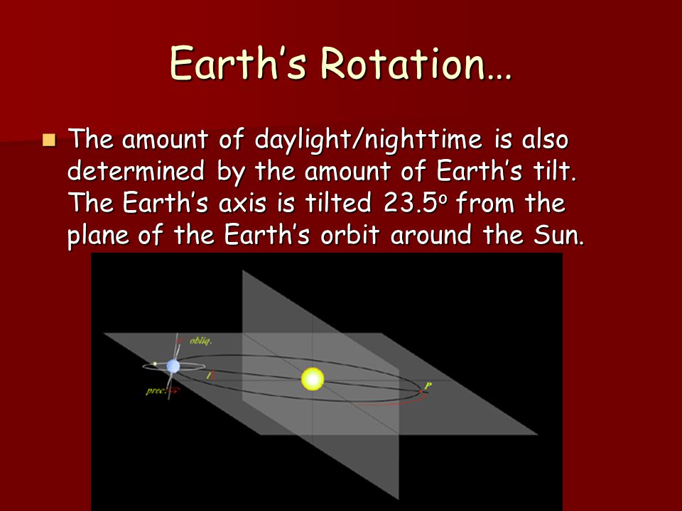 PGCC PSC 121 Gage Earth's Rotation… The amount of daylight/nighttime is also determined by the amount of Earth's tilt.