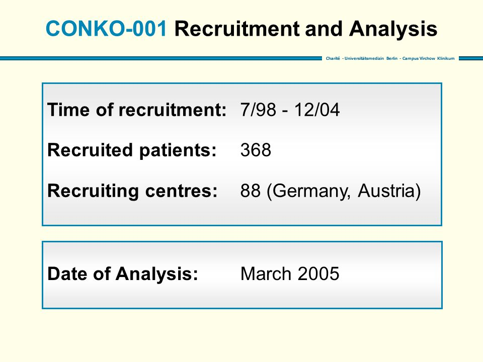 Charité - Universitätsmedizin Berlin - Campus Virchow Klinikum CONKO-001 Recruitment and Analysis Time of recruitment:7/98 - 12/04 Recruited patients:368 Recruiting centres:88 (Germany, Austria) Date of Analysis:March 2005