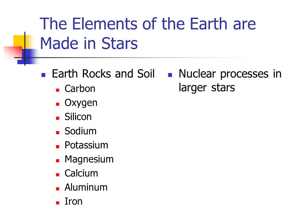 The Elements of the Earth are Made in Stars Earth Rocks and Soil Carbon Oxygen Silicon Sodium Potassium Magnesium Calcium Aluminum Iron Nuclear processes in larger stars