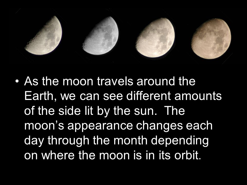 As the moon travels around the Earth, we can see different amounts of the side lit by the sun.