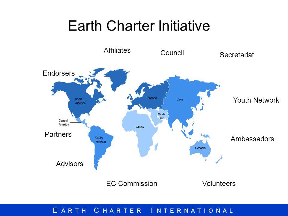E A R T H C H A R T E R I N T E R N A T I O N A L Earth Charter Initiative Affiliates Partners Advisors EC Commission Endorsers Youth Network Ambassad