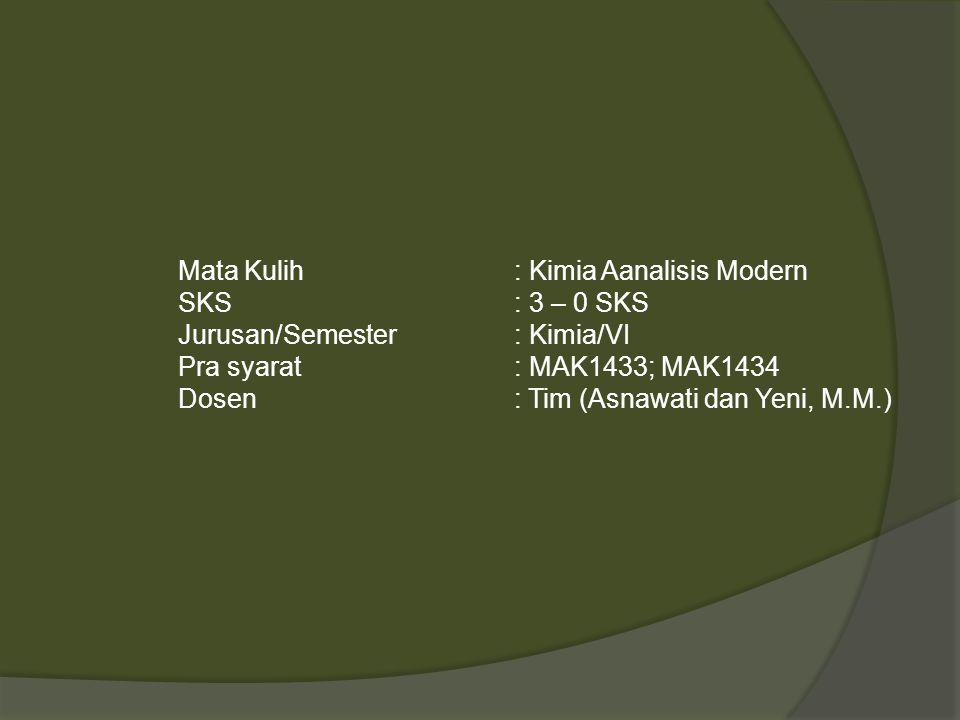 Mata Kulih: Kimia Aanalisis Modern SKS: 3 – 0 SKS Jurusan/Semester: Kimia/VI Pra syarat: MAK1433; MAK1434 Dosen: Tim (Asnawati dan Yeni, M.M.)