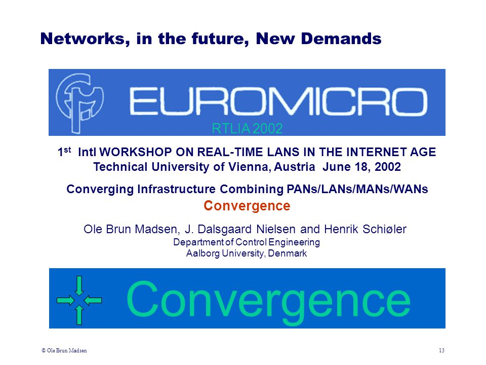 © Ole Brun Madsen13 Converging Infrastructure Combining PANs/LANs/MANs/WANs Networks, in the future, New Demands Convergence 1 st Intl WORKSHOP ON REA
