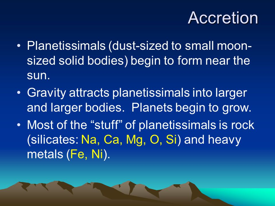 Solid chunks, called planetissimals, begin to condense close to the star.