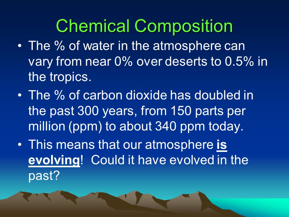 Chemical Composition Our current atmosphere is:  78% nitrogen (N)  21% oxygen (O)  1% argon (Ar), helium (He), carbon dioxide (CO 2 ), water vapor
