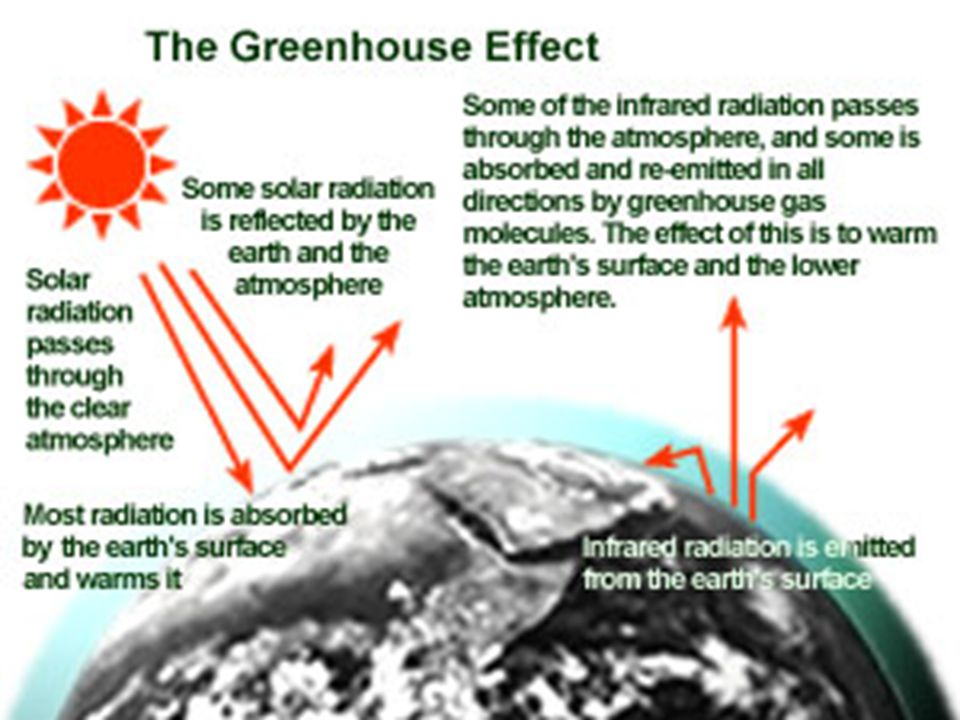 How does the atmosphere affect the surface? 33% of the sunlight is absorbed by gases and dust, but then is re-radiated as infrared (heat). Much of thi