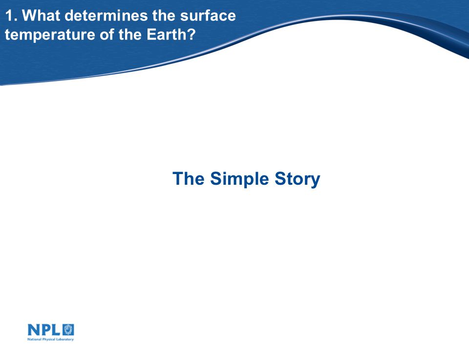 1. What determines the surface temperature of the Earth? The Simple Story