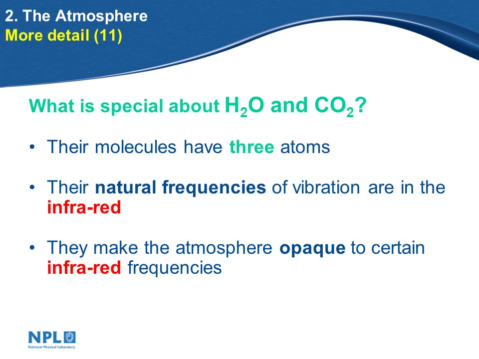 2. The Atmosphere More detail (11) What is special about H 2 O and CO 2 .