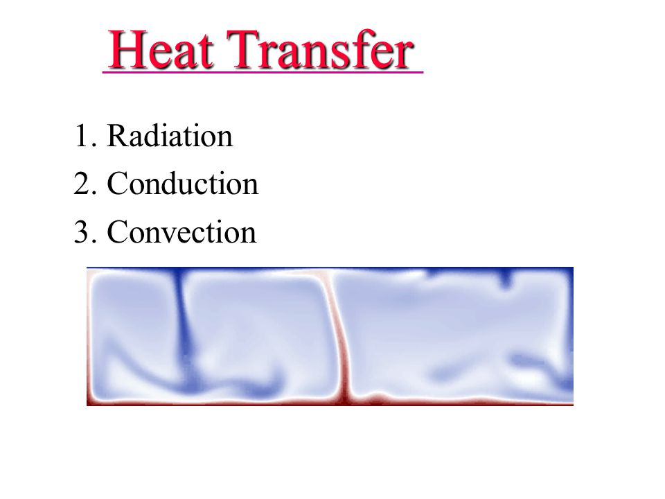 Heat Transfer 1. Radiation 2. Conduction 3. Convection