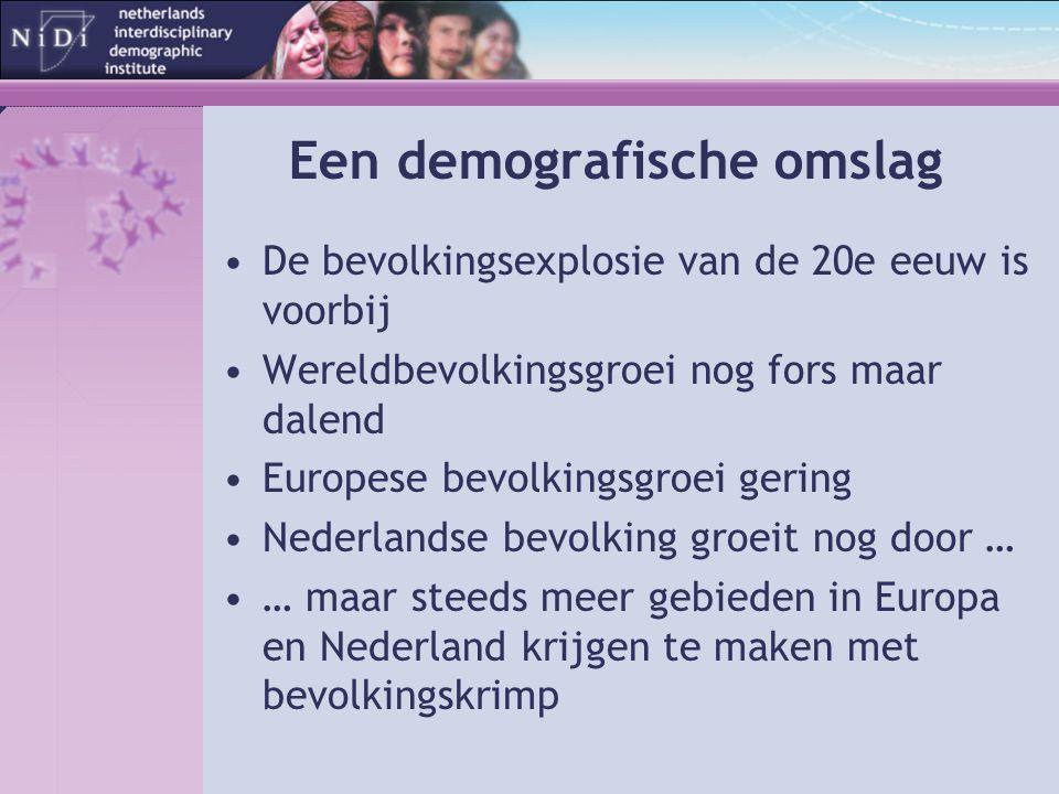 Een demografische omslag De bevolkingsexplosie van de 20e eeuw is voorbij Wereldbevolkingsgroei nog fors maar dalend Europese bevolkingsgroei gering Nederlandse bevolking groeit nog door … … maar steeds meer gebieden in Europa en Nederland krijgen te maken met bevolkingskrimp