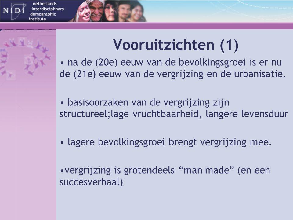 Vooruitzichten (1) na de (20e) eeuw van de bevolkingsgroei is er nu de (21e) eeuw van de vergrijzing en de urbanisatie.