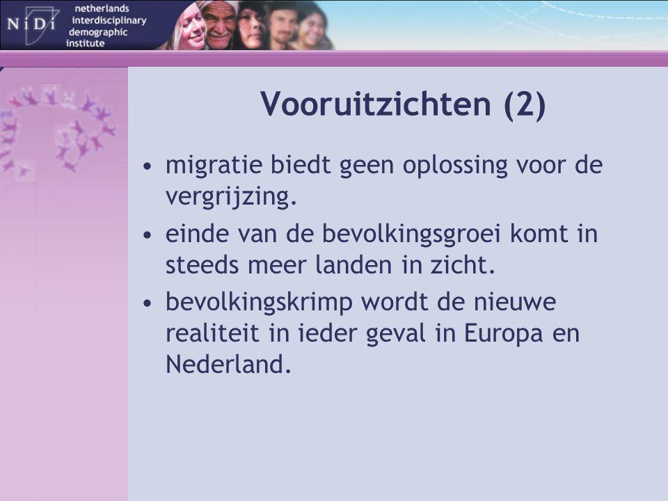 Vooruitzichten (2) migratie biedt geen oplossing voor de vergrijzing.