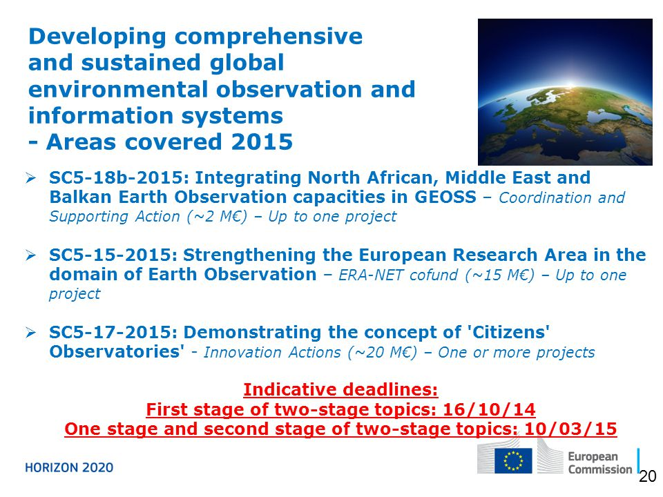 Developing comprehensive and sustained global environmental observation and information systems - Areas covered 2015  SC5-18b-2015: Integrating North African, Middle East and Balkan Earth Observation capacities in GEOSS – Coordination and Supporting Action (~2 M€) – Up to one project  SC5-15-2015: Strengthening the European Research Area in the domain of Earth Observation – ERA-NET cofund (~15 M€) – Up to one project  SC5-17-2015: Demonstrating the concept of Citizens Observatories - Innovation Actions (~20 M€) – One or more projects Indicative deadlines: First stage of two-stage topics: 16/10/14 One stage and second stage of two-stage topics: 10/03/15 20