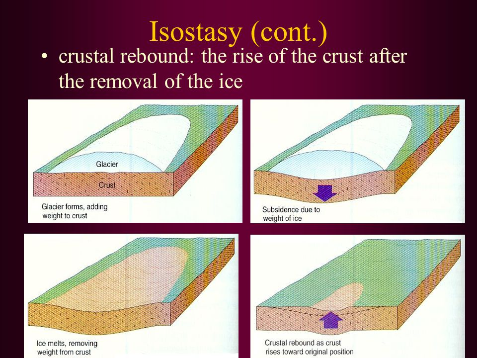 Isostasy (cont.) crustal rebound: the rise of the crust after the removal of the ice