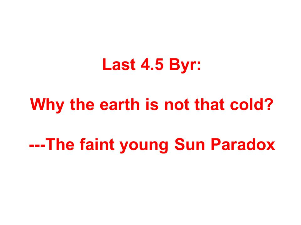 Last 4.5 Byr: Why the earth is not that cold? ---The faint young Sun Paradox