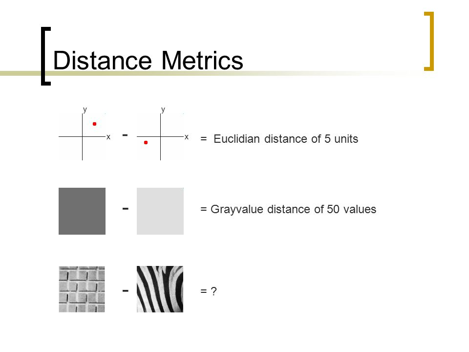 Distance Metrics x y x y - - - = Euclidian distance of 5 units = Grayvalue distance of 50 values = ?