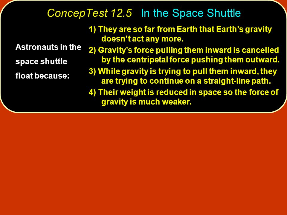 ConcepTest 12.5 In the Space Shuttle Astronauts in the space shuttle float because: 1) They are so far from Earth that Earth's gravity doesn't act any