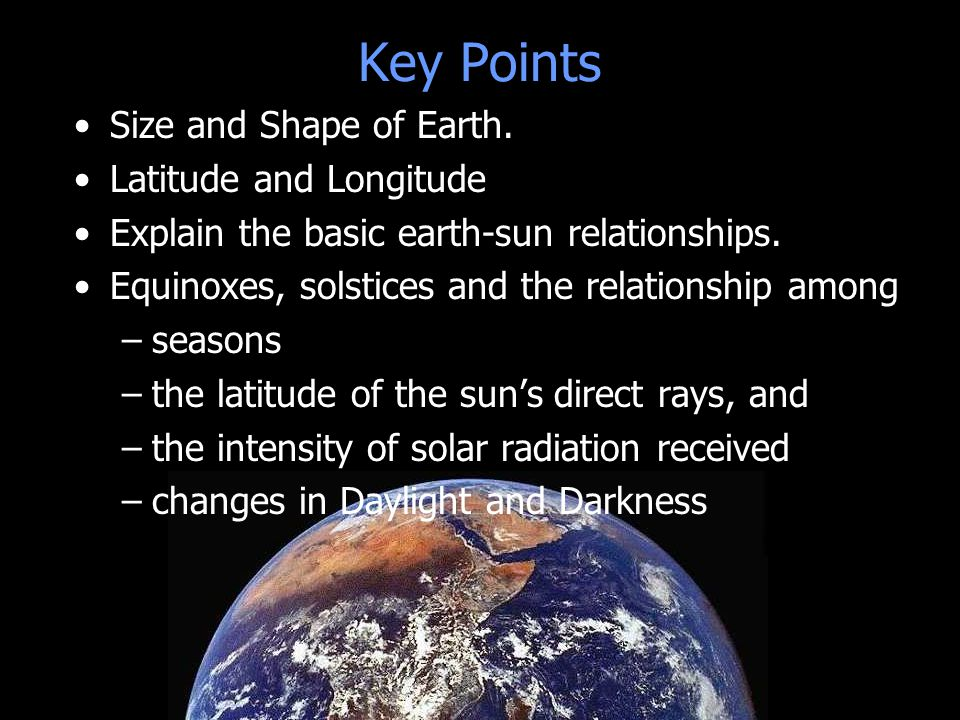 Key Points 23.5º N Size and Shape of Earth. Latitude and Longitude Explain the basic earth-sun relationships. Equinoxes, solstices and the relationshi