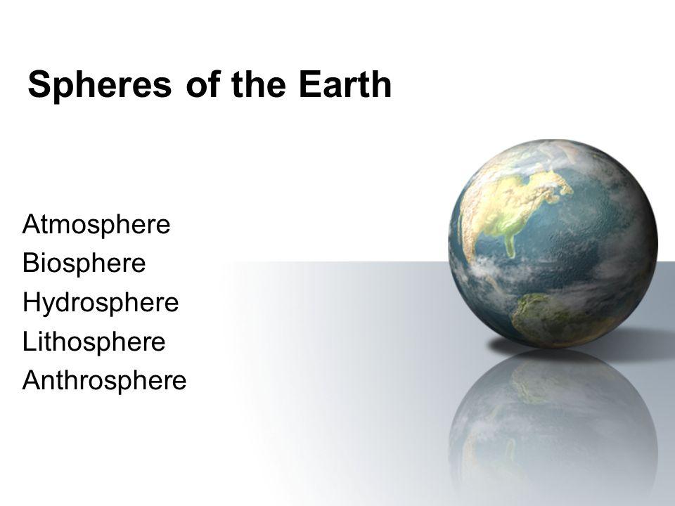 Spheres of the Earth Atmosphere Biosphere Hydrosphere Lithosphere Anthrosphere